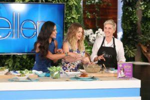 Kimberly Snyder & Drew Barrymore on the set of Ellen with the Beauty of Detox Power.